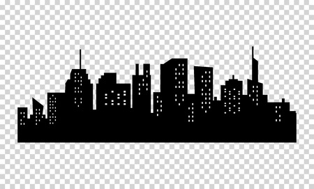 Black and white sihouette of big city skyline on transparrent background Vettoriali