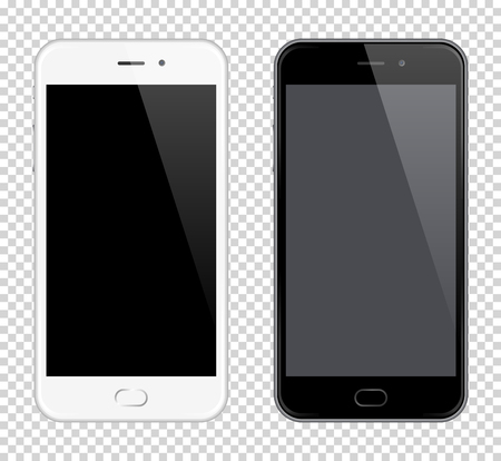 Realistic Vector Mobile Phone. Vector Smartphone mock-up. Black and white phones on transparent background