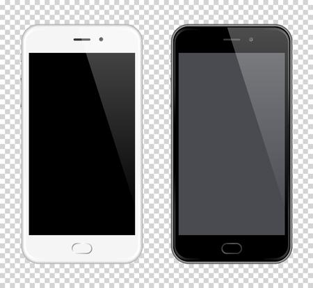 Realista Vector Teléfono Móvil. Vector Smartphone maqueta. Blanco y negro teléfonos sobre fondo transparente