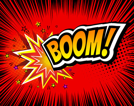 Boom. Vector Retro Comic Speech Bubble, Cartoon Comics Template. Mock-up of Comic Book Design Elements. Sound Effects, Colored Halftone Background