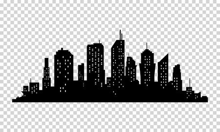 City icon. Vector town Silhouette illustration. Skylines. Skyscraper on transparent background