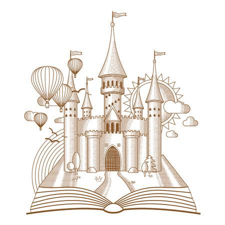 castillos de princesas: Mundo de los cuentos de hadas castillo que aparecen en el libro antiguo, ilustración vectorial de dibujos animados. Mono línea de arte de la fantasía