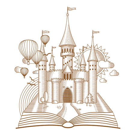 open book: World of tales, fairy castle appearing from the old book, cartoon vector illustration. Mono line fantasy art Illustration