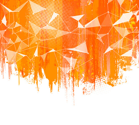 ellements: Splashes Orange Background. Creative abstract background with colorful splash, halftone doted ellements and triangular design