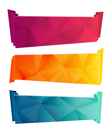yelow: Color triangular ribbon and banner set. Ribbons from paper. Red, yelow, blue polygon Ribbon Collection. Ribbon and banner on white background Illustration