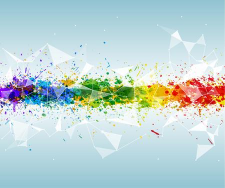 Contexte triangulaire et futuriste abstrait avec des couleurs vives. La peinture éclabousse en fond triangulaire