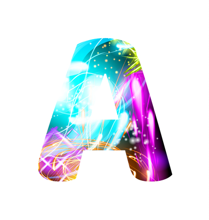 Glowing Light effect neon Font. Firework Color Design Text Symbols. Shiny letter A Illustration