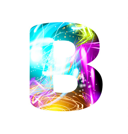 Glowing Light effect neon Font. Firework Color Design Text Symbols. Shiny letter B