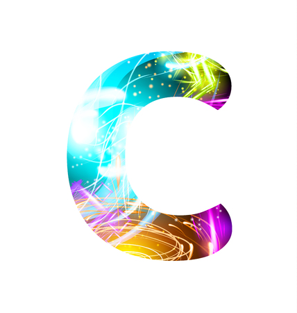 Glowing Light effect neon Font. Firework Color Design Text Symbols. Shiny letter C