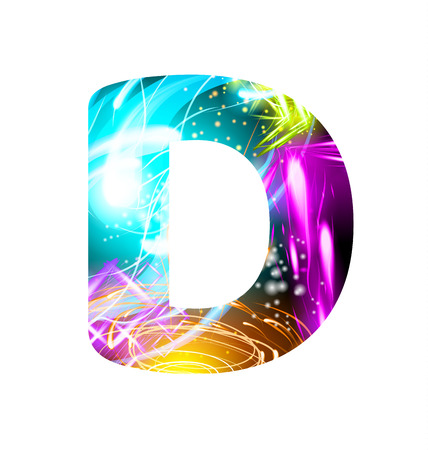 Glowing Light effect neon Font. Firework Color Design Text Symbols. Shiny letter D Illustration