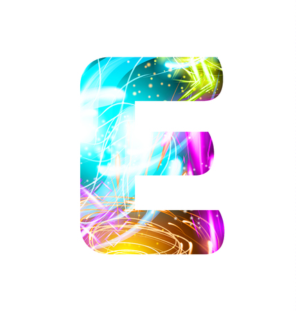 Glowing Light effect neon Font. Firework Color Design Text Symbols. Shiny letter E