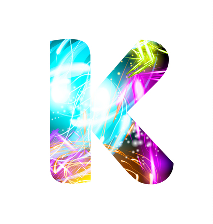 Glowing Light effect neon Font. Firework Color Design Text Symbols. Shiny letter K Illustration