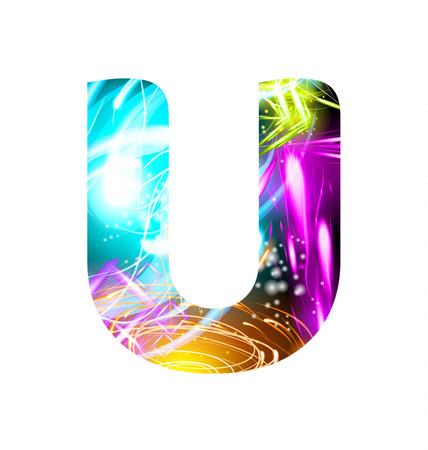 Glowing Light effect neon Font. Firework Color Design Text Symbols. Shiny letter U