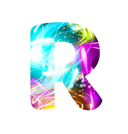 Glowing Light effect neon Font. Firework Color Design Text Symbols. Shiny letter R