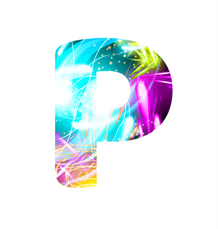 Glowing Light effect neon Font. Firework Color Design Text Symbols. Shiny letter P