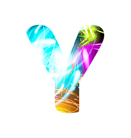 Glowing Light effect neon Font. Firework Color Design Text Symbols. Shiny letter Y