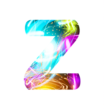 Glowing Light effect neon Font. Firework Color Design Text Symbols. Shiny letter Z