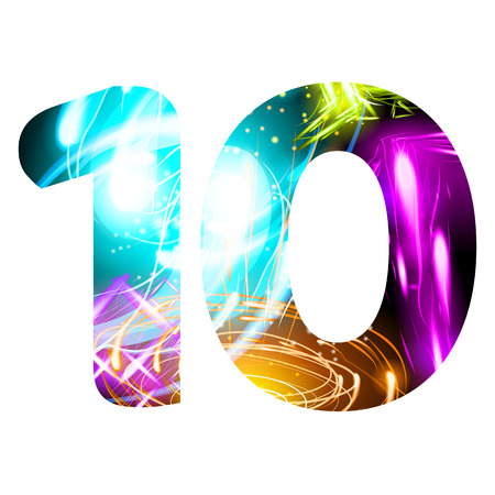 Glowing Light effect neon Font. Firework Color Design Text Symbols. Shiny number 10