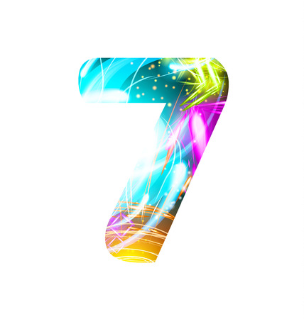 Glowing Light effect neon Font. Firework Color Design Text Symbols. Shiny number 7