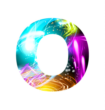 Glowing Light effect neon Font. Firework Color Design Text Symbols. Shiny letter O