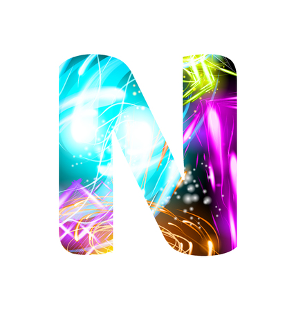 Glowing Light effect neon Font. Firework Color Design Text Symbols. Shiny letter N