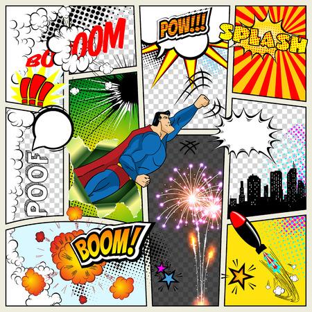 Maquette d'une page de bande dessinée typique. Vecteur bande dessinée Pop art Superhero concept modèle vierge de mise en page avec des poutres de nuages, des bulles isolées. Discours bubles, symboles sur fond de demi-teintes colorées