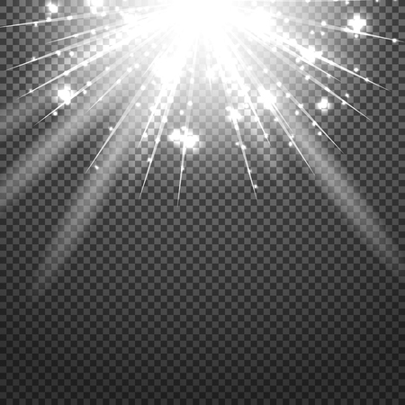 transparence: Shiny sunburst of sunbeams on the abstract sunshine background and transparency background. Vector illustration. Illustration