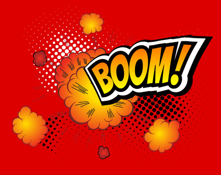 Boom. Vector Retro Comic Speech Bubble Boom, Cartoon Comics Template. Mock-up of Comic Book Design Elements. Sound Effects, Colored Halftone Background Illustration