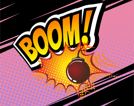 vector bomb: Boom. Vector Retro Comic Speech Bubble, Cartoon Comics Template. Mock-up of Comic Book Design Elements. Sound Effects, Colored Halftone Background. Boom bomb sound