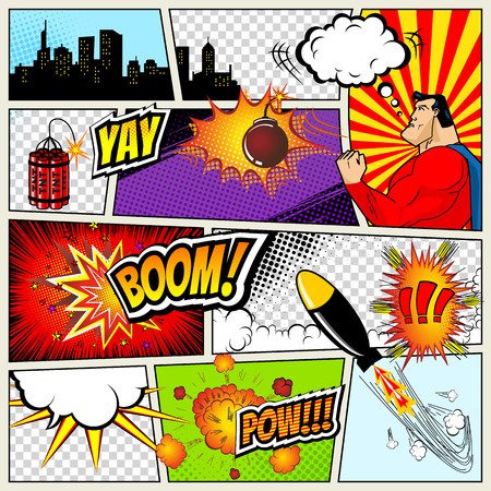 Plantilla de cómics. Vector retro del cómic burbujas del discurso Ilustración. Prototipo de cómic página con el lugar de texto, de voz Bubbls, símbolos, Efectos de sonido, Fondo con color de medios tonos y Superhéroe