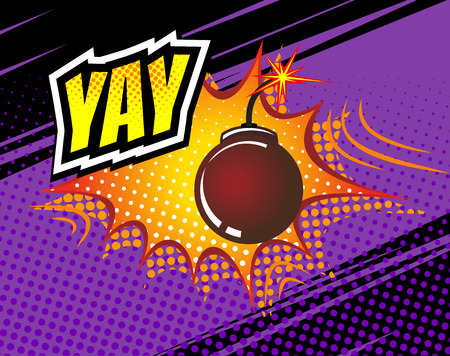 biff: Yay. Vector Retro Comic Speech Bubble, Cartoon Comics Template. Mock-up of Comic Book Design Elements. Sound Effects, Colored Halftone Background Illustration