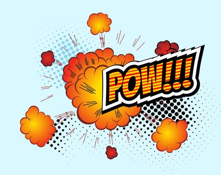 dinamita: Pow. Retro vector Burbuja cómica del discurso, los tebeos de la historieta plantilla. Prototipo de cómic Elementos de diseño. Efectos de sonido, color de fondo de semitonos