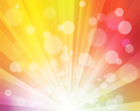 rainbow background: Rainbow Sunshine effect with blurred dots like bokeh bright Background for Posters, Presentations, Video, Site Headers and Background Illustration