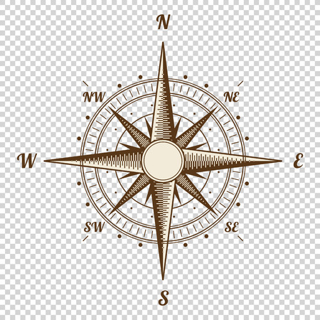 compass rose: Compass. Height Quality Illustration. Old Style. Wind Rose Simple Style Isolated Illustration