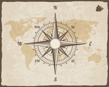 ビンテージ航海コンパス。引き裂かれた枠での紙のテクスチャ上の古い世界地図。風が出た。船のロゴのシルエットの背景