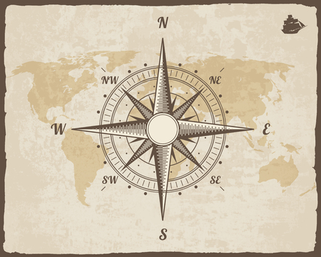meridian: Vintage Nautical Compass. Old World Map on Paper Texture with Torn Border Frame. Wind rose. Background with Ship Logo Silhouette