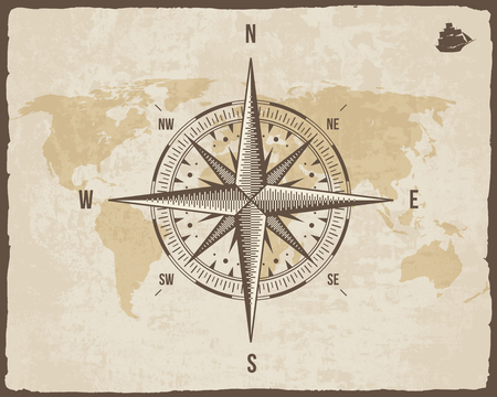 cartographer: Vintage Nautical Compass. Old World Map on Paper Texture with Torn Border Frame. Wind rose. Background with Ship Logo Silhouette
