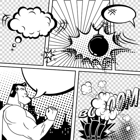 heroes: Retro Comic Book Speech Bubbles Illustration. Mock-up of Comic Book Page with place for Text, Bubbles, Symbols, Sound Effects, Colored Halftone Background and Superhero. Black and White Coloring