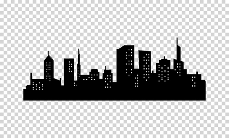 City Silhouette. Black color. Panorama of Megapolis City. Skyscrapers in the Night with Lights in the Windows