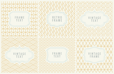Retro Mono Line Frames with place for Text.  Design Template, Labels, Badges on Seamless Geometric Patterns. Minimal Textures Background Иллюстрация