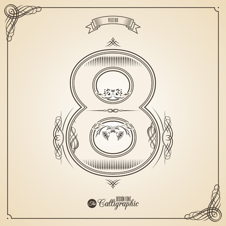 number border: Calligraphic Font with Border, Frame Elements and Invitation Design Symbols. Collection of Glyph. Certificate and Decor Design Elements. Hand written retro feather Symbol. Number 8 Illustration