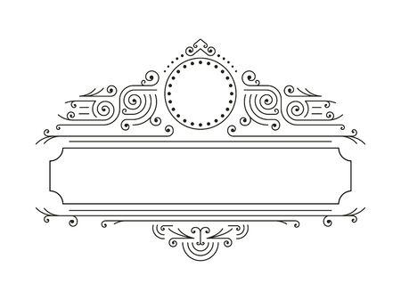 Vector floreali cornici in stile linea mono con copia spazio per il testo - modello di progettazione. Retro Frame. Telaio di lusso
