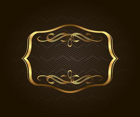 blank banner: Blank golden vintage frame, banner, label, Vector EPS10. Gold vintage frame. Decorative vector frame with place for text Illustration