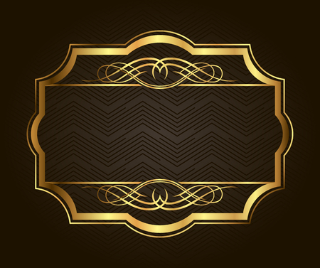 metallic border: Golden frame for placing your picture or text behind. Vintage gold background, vector antique frame on black