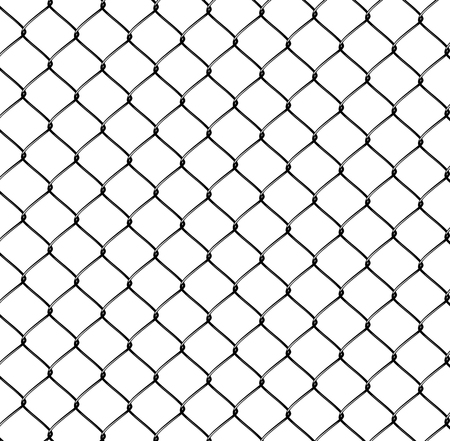 chained link fence: Realistic Steel Netting isolated on white background