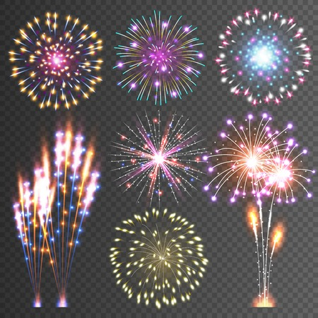 dazzling: Festive Firework. Abstract Vector Isolated Pictograms. Dazzling Light up the sky. Icons on a black Background