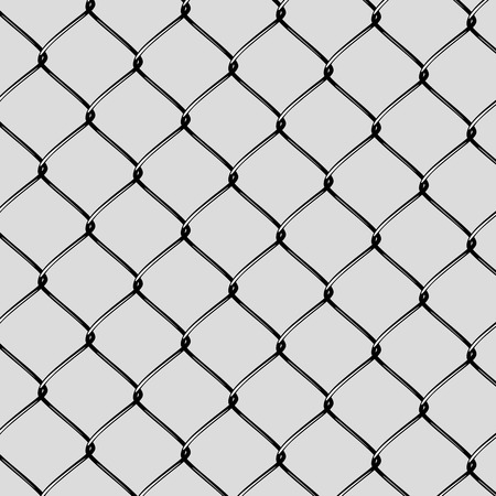 chained link fence: Realistic Steel Netting Cut. Steel net on grey background Illustration