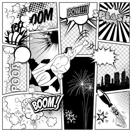 コミック漫画本ページの背景音声と爆発泡のセット。スーパー ヒーロー、ロケット、都市シルエット、花火のデザイン要素