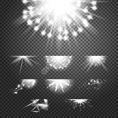 outburst: Glint glory effect. Simple vector white and bright suns on transparent background. Stars and meteors