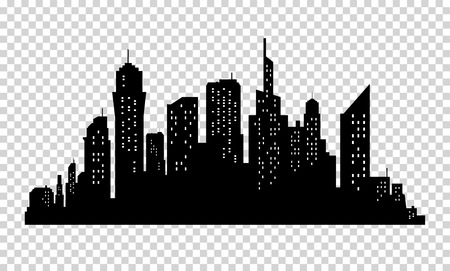 City skyline in grey colors. Buildings silhouette cityscape. Big city streets. minimalistic style. Vector illustration on transparrent background